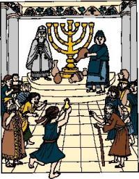 Macabees lighting menorah